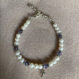 Pearl and Swarovski Crystal bracelet with cross